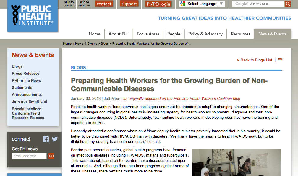 Preparing Health Workers for the Growing Burden of Non-Communicable Disease