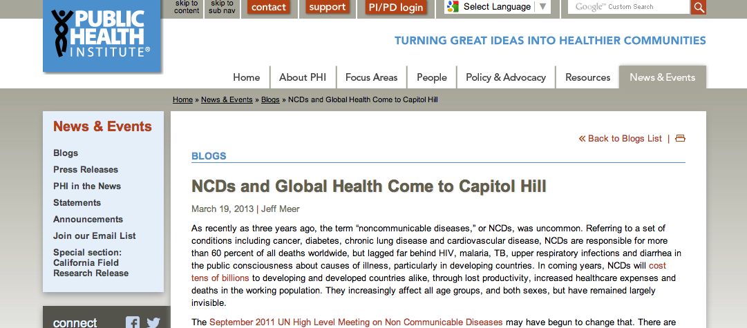 NCDs and Global Health Come to Capitol Hill