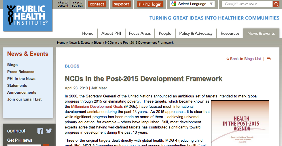 NCDs in the Post-2015 Development Framework