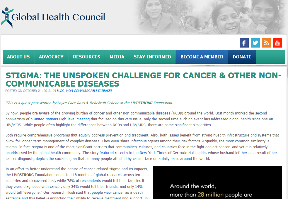 Stigma: The Unspoken Challenge for Cancer & Other Non-communicable Diseases