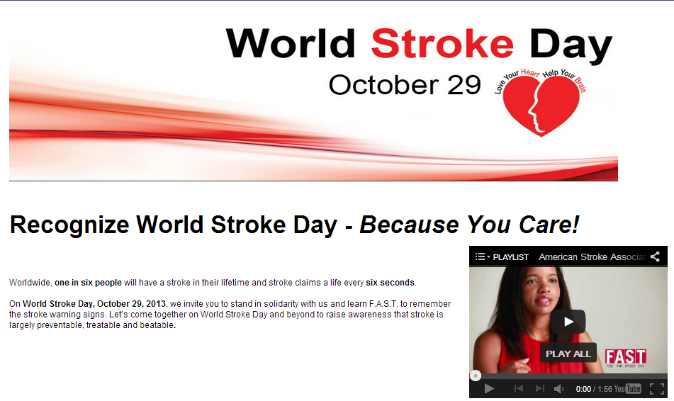 Recognizing October 29 as World Stroke Day 2013