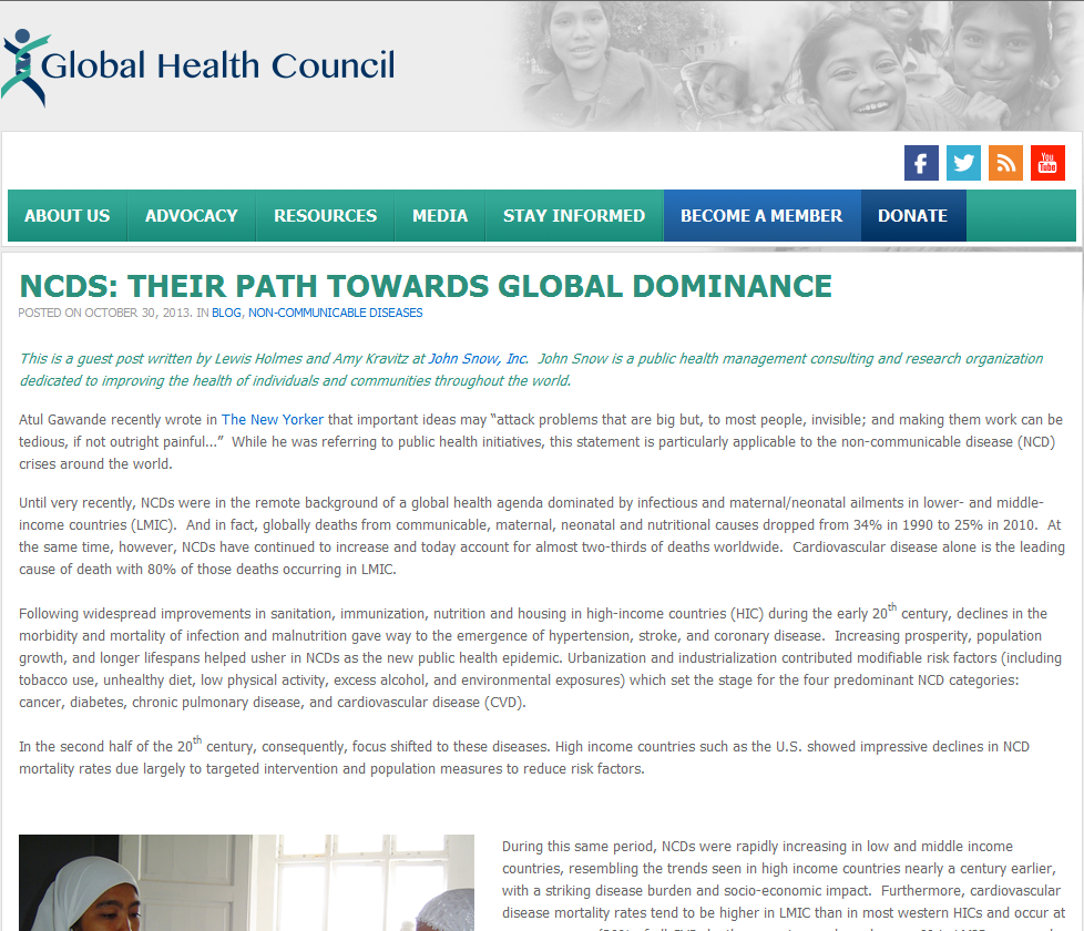 NCDs: Their Path to Global Dominance