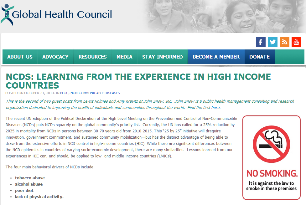 NCDs: Learning From The Experience In High Income Countries