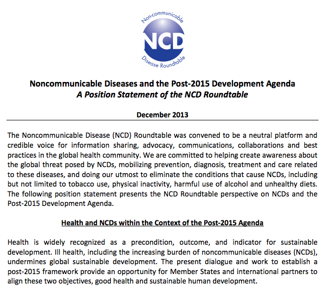NCD Roundtable Post 2015 Position Statement