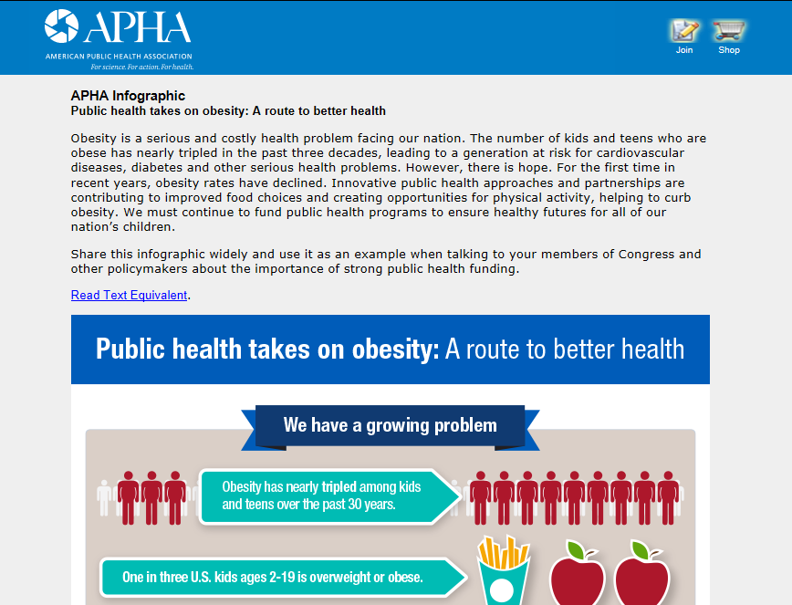American Public Health Association Shares Latest Infographic on Public Health and Obesity