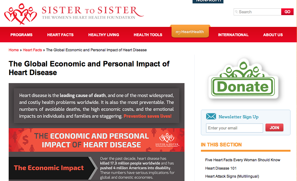 Sister to Sister Releases Infographic on The Global Economic and Personal Impact of Heart Disease